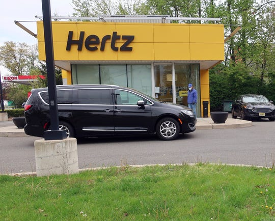 A Hertz store is closed during the coronavirus pandemic.