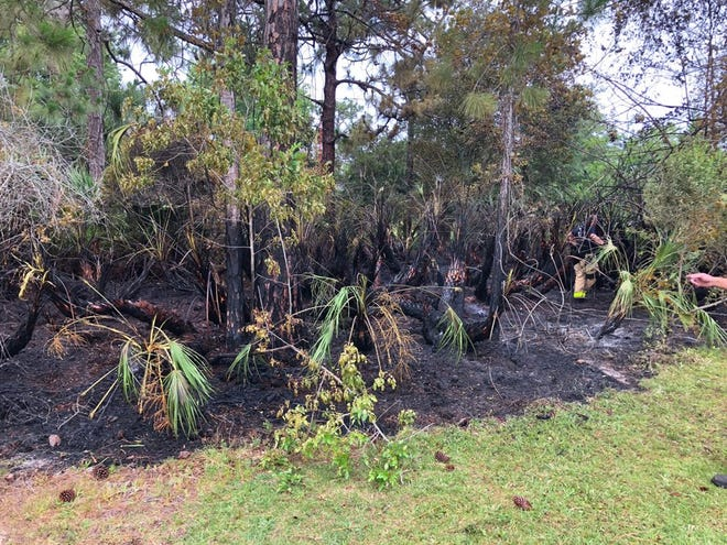 Firefighters extinguished a brush fire Sunday morning on Ramblebrook Street in Grant-Valkaria.