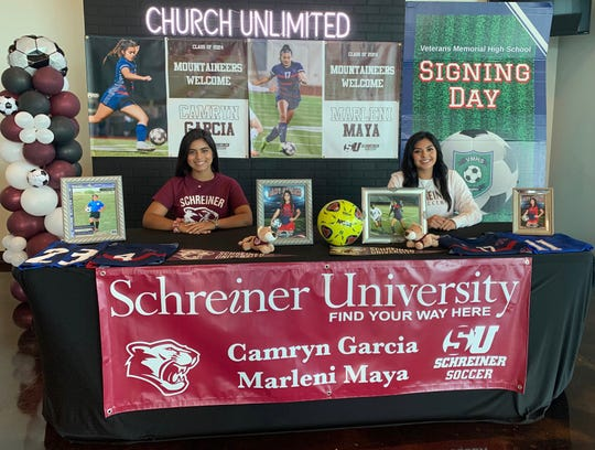 Veterans Memorial soccer players Camryn Garcia and Marleni Maya signed to play at Schreiner University this week at Church Unlimited.