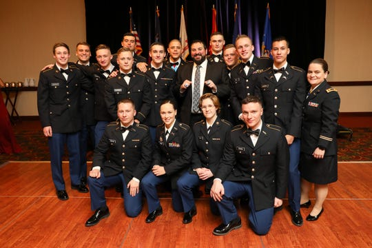 Lions coach Matt Patricia poses Feb. 14, 2020, with members of the Rensselaer Polytechnic Institute ROTC program after he gave the keynote speech at the annual military ball at the Hilton Garden Inn in Troy, N.Y.