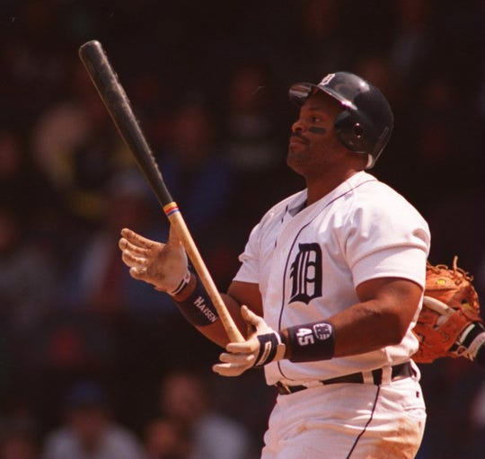 Tigers first baseman Cecil Fielder after striking out against the Orioles on April 14, 1994, at Tiger Stadium.