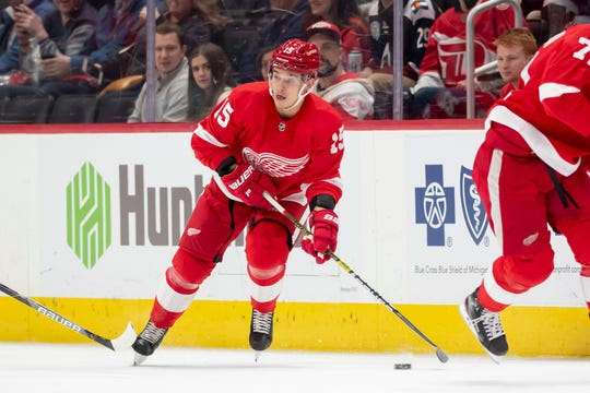 Dmytro Timashov was held without a point in five games this season for the Red Wings.