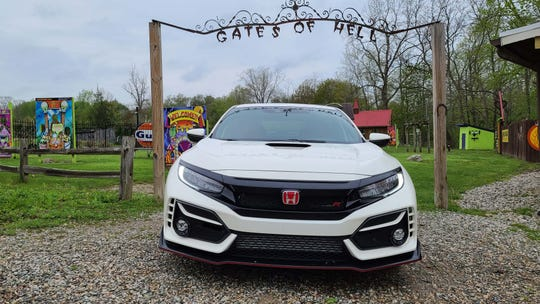 Cerberus at the Gates of Hell (Michigan). The 2020 Honda Civic Type R has a big mouth for better air flow as well as a telltale scoop on the hood.