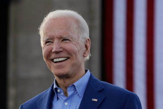 FILE - In this March 7, 2020, file photo, Democratic presidential candidate former Vice President Joe Biden acknowledges the crowd during a campaign rally in Kansas City, Mo.