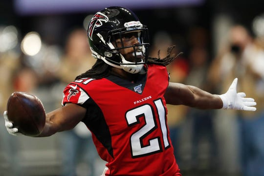 New Lions cornerback Desmond Trufant had four interceptions in nine games last season with the Falcons.