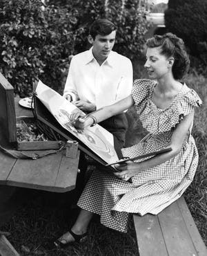 Richard and Cecile Spalding enjoy a summer day in Harrod's Creek. Richard a musician, and Cecile an artist, met during the war in France. Aug. 23, 1949