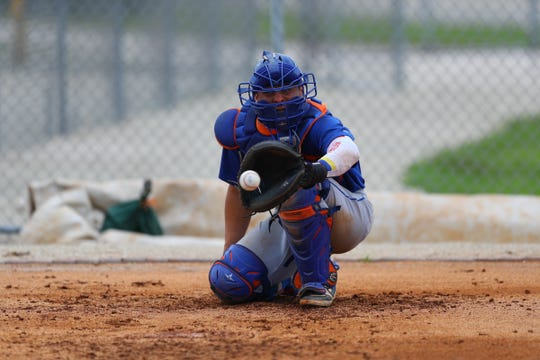 New York Mets minor league catcher Francisco Alvarez gets some work in the bullpen during the game between the Mets and Cardinals at the Minor League Complex in Jupiter, Fla. on May 8, 2019.