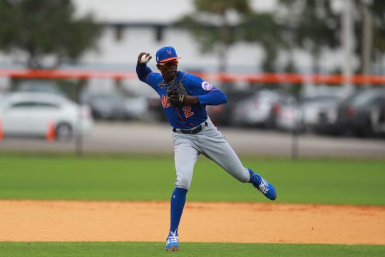 New York Mets prospect Ronny Mauricio participates in fielding drills at the Mets minor league camp in Port St. Lucie, Fla. on Feb. 26, 2020.