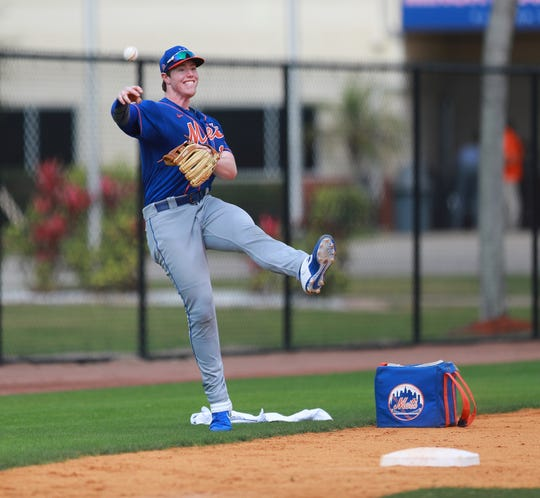 New York Mets prospect Brett Baty participates in fielding drills at the Mets minor league camp in Port St. Lucie, Fla. on Feb. 26, 2020.