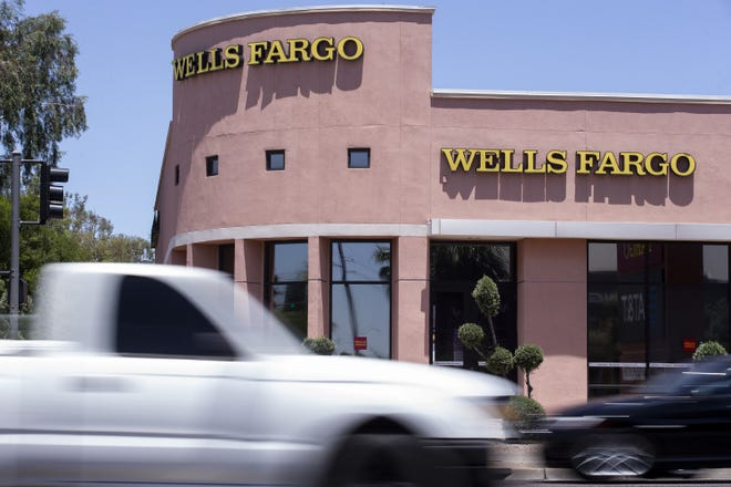 A Wells Fargo building is pictured on May 21, 2020, in Phoenix.