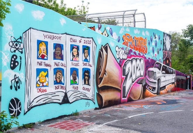 The York Bomb Squad, a local street art crew, created this detailed mural with prom and graduation essentials for the Class of 2020.