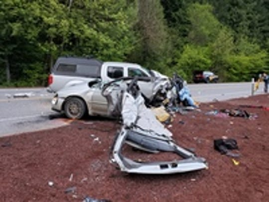 A Scappoose man died Sunday morning in a two-car crash on Highway 22E east of Idanha in Linn County.