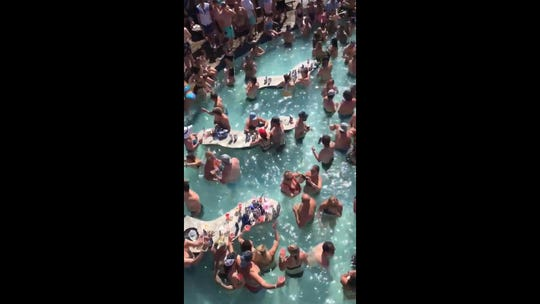 A screenshot of a video by Scott Pasmore from a pool party at Lake of the Ozarks on Memorial Day weekend.