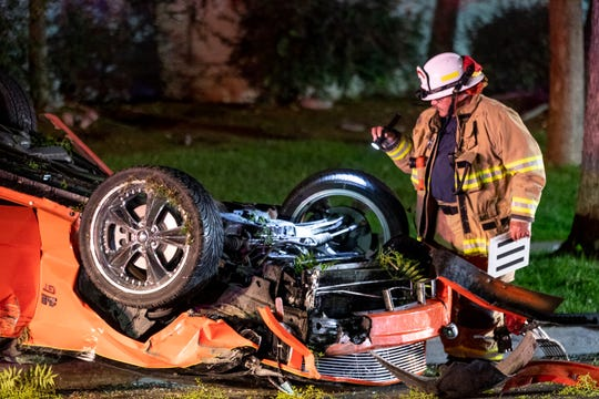Visalia police and fire departments investigate a collision between two cars on Chinowth just north of Mineral King Avenue on Saturday, May 23, 2020. Both drivers and a passenger were transported to a local hospital. Chinowth was closed for hours. Alcohol was a factor in the collision according to Visalia Police.