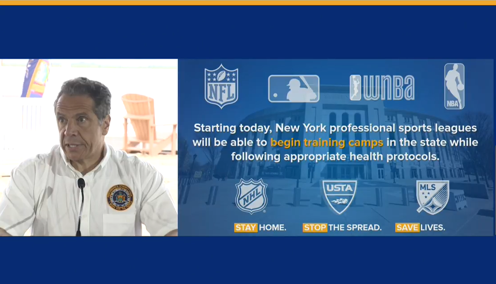 New York sports teams get approval from Gov. Andrew Cuomo to start training camps