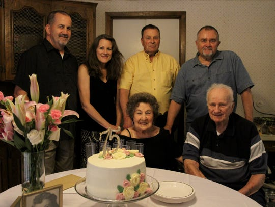 Eugene and Mary Szczepinski with their four children, Steven, Debbie Jellerson, Gene and Greg. They celebrated Eugene and Mary's 75th wedding anniversary Saturday, May 23, 2020. The pair was married May 22, 1945, in San Antonio.