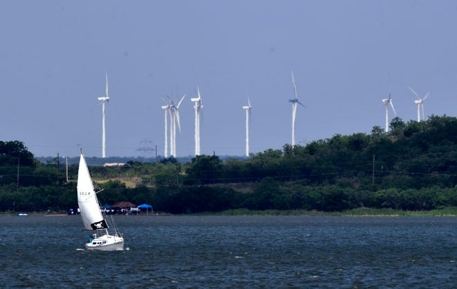 A sailboat tacks against the wind Saturday at Lake Fort Phantom Hill.