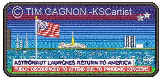 Local artist, Tim Gagnon designed a commemorative mission patch for SpaceX's and NASA's historic launch that will send American astronauts to space from American soil since the shuttle program retired in 2011.