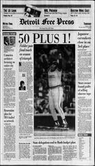 The front page of the Detroit Free Press on Oct. 4, 1990, the day after Tigers first baseman Cecil Fielder hit his 50th and 51st home runs of the season in New York.
