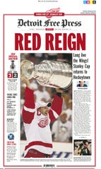 "Detroit Free Press 1A front page on June 5, 2008 with the headline, ""Red Reign"" celebrating the Red Wings' Stanley Cup victory over Pittsburgh."