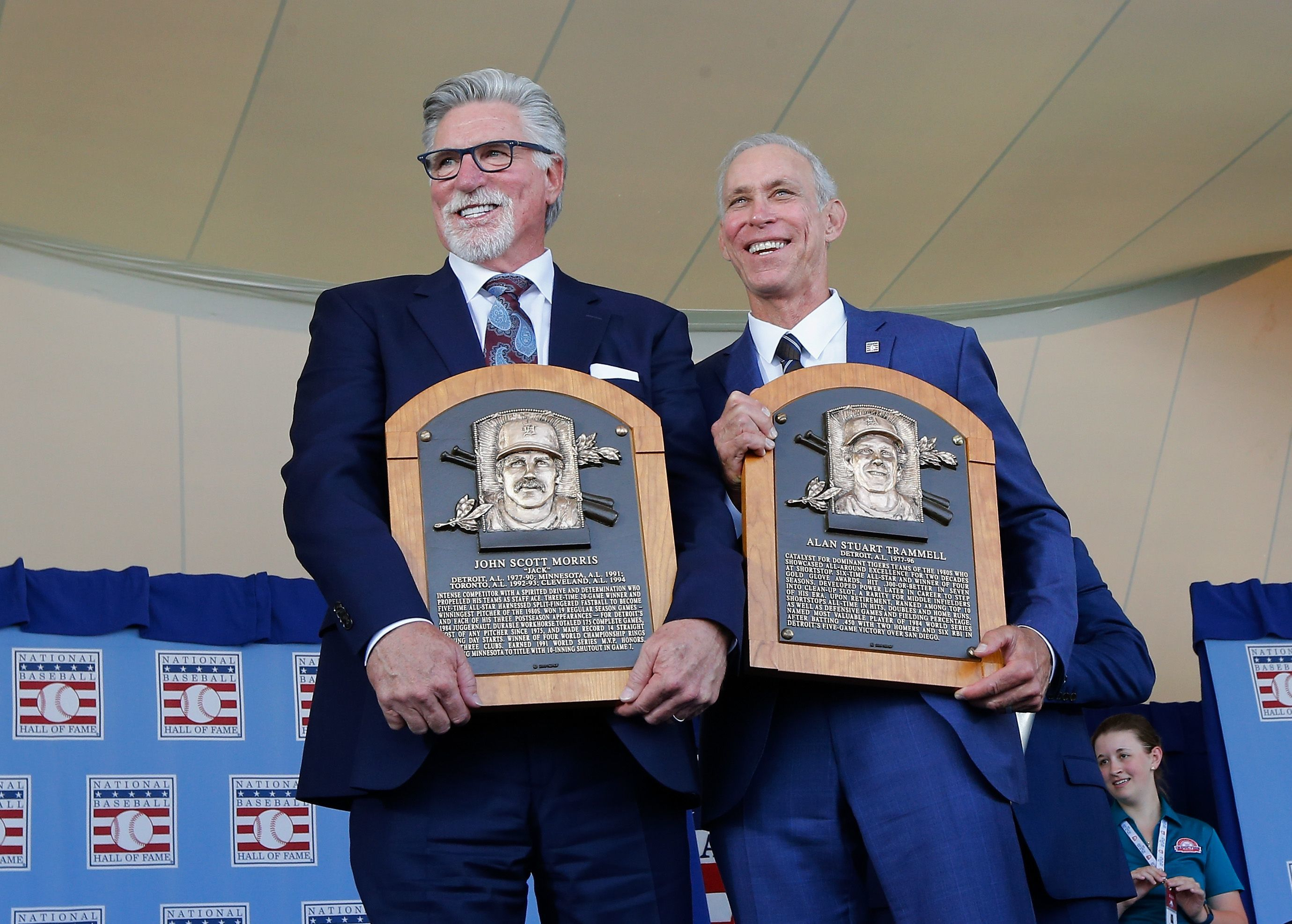 Jack Morris and Alan Trammell pose with their Hall of Fame plaques on July 29, 2018.