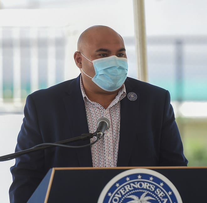 Lt. Gov. Josh Tenorio speaks during a Memorial Day commemoration ceremony at Guam Veterans Cemetery in Piti, May 25, 2020.