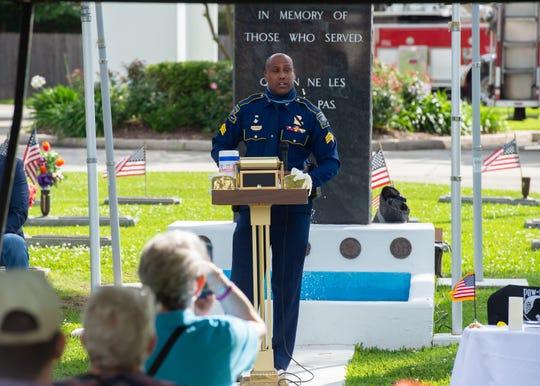 State Police Veteran John Trahan speaking at Memorial Day Service at Fountain Memorial Cemetary. Monday, May 25, 2020.