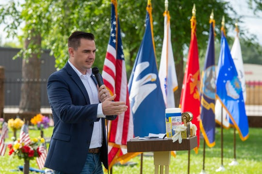 Mayor Presodent Josh Guillory speaking at Memorial Day Service at Fountain Memorial Cemetary. Monday, May 25, 2020.