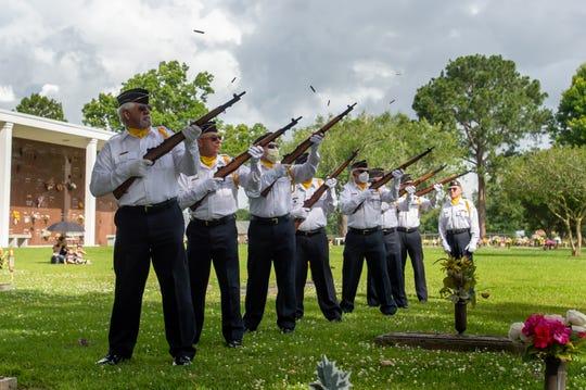 Members of the Acadian Veterans Honor Guard at Memorial Day Service at Fountain Memorial Cemetary. Monday, May 25, 2020.