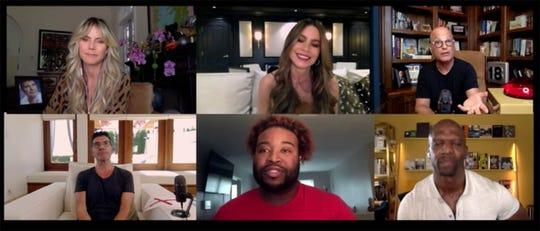 "Montgomery singer Darius Scarver, bottom center, auditions for NBC's ""America's Got Talent"" with, clockwise from left, Simon Cowell, Heidi Klum, Sofia Vergara, Howie Mandel and Terry Crews."