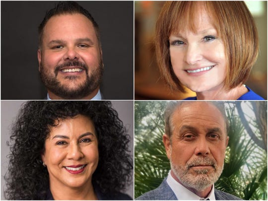 Some primary candidates for the crowded Doña Ana County Commission District 4 race. From top left: Sam Bradley, Debra Hathaway, Susana Chaparro, Richard Reynaud.