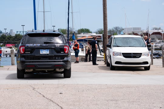 Crews respond to a body found in the St. Clair River on Memorial Day, Monday, May 25, 2020 in Port Huron. A boater called to report a possible body in the river shortly before 11:30 a.m.