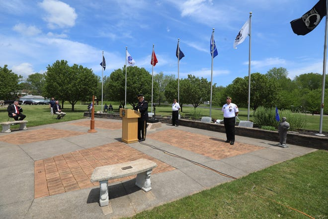 A Memorial Day ceremony was held at Perinton Memorial VFW Post 8495 Monday, May 25, 2020.  The event was closed to the public due to COVD-19 but was streamed on Facebook.  VFW Post 8495 and Brooks-Shepard VFW Post 765 located in Fairport read the names of their members in who died this past year towards the end of their remembrance ceremony.  Maj. General (retired) Dennis Lutz speaks during the ceremony.