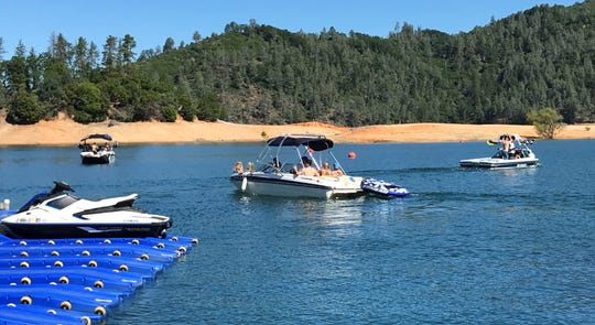 Ski boats were a familiar sight on Lake Shasta on Memorial Day, May 25, 2020.