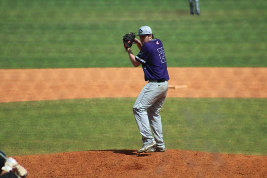 Brandon native Payton Livingston pitches against West Virginia Wesleyan on March 6, 2020.
