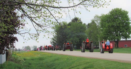 Tractor parade heading south on Miller Road.