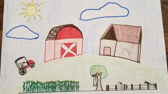 Nine-year-old Leah of Colfax had the top entry in the ages 7 to 9 year old division of the National Ag Day drawing contest.