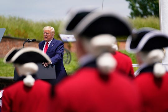 President Donald Trump speaks during a Memorial Day ceremony at Fort McHenry National Monument and Historic Shrine, Monday, May 25, 2020, in Baltimore.