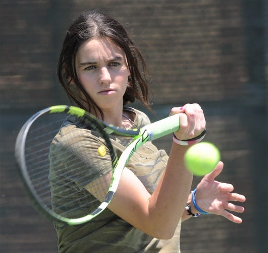 Abilene High senior McKenna Bryan returns a shot during a private lesson on Thursday, May 7, 2020, at Rose Park Tennis Center. Bryan will play at Hardin-Simmons in the fall.