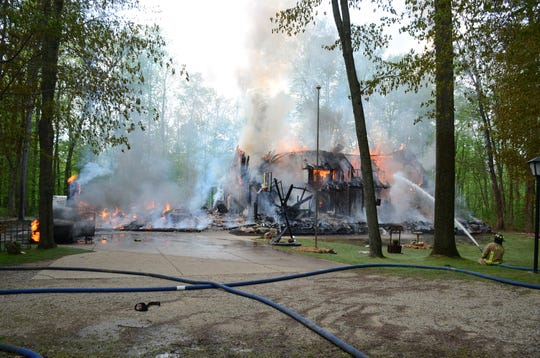 Fire destroyed this Battle Creek home on Memorial Day.  Trace Christenson/The Enquirer