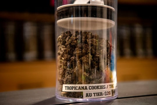 A strain of recreational marijuana named Tropicana Cookie is pictured on Tuesday, May 26, 2020 at Common Citizen in Emmett Township, Mich. The dispensary, which has sold medical marijuana since October 2019, began adult-use sales on Friday after receiving its license from the state.