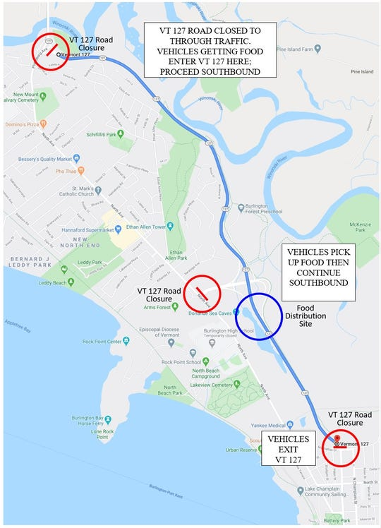 Burlington Beltline (VT 127) closed Tuesday, May 26 to accommodate food distribution traffic.