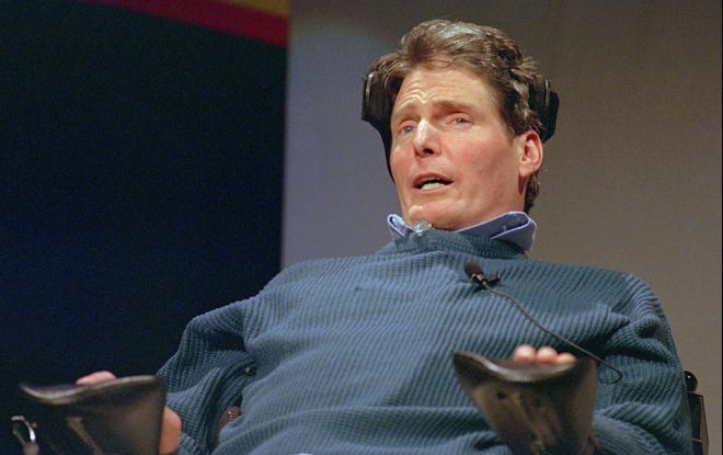 """Actor Christopher Reeve is shown in this May 1996 file photo. The """"Superman"""" star was paralyzed in a 1995 horse-riding accident."""