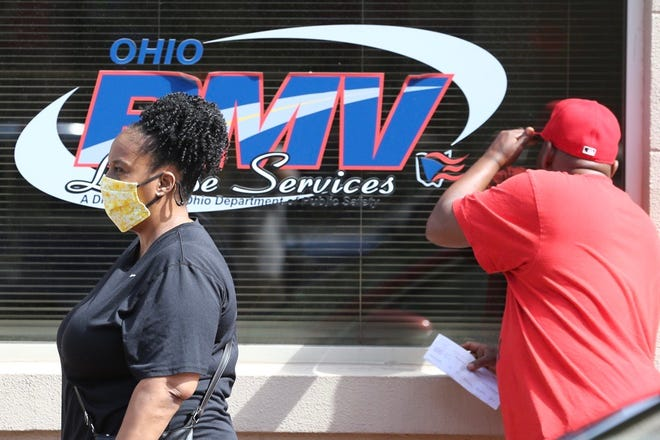 The Ohio Bureau of Motor Vehicles reopened on May 26, 2020, with long lines at the Court Street location, Downtown.