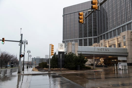 MGM Grand Detroit Hotel and Casino entrance in Detroit, Thursday, March 19, 2020.