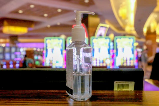 Hand sanitizer found throughout the MGM Grand Detroit at the newly opened sports betting & entertainment venue called BetMGM Sports Lounge at its casino in Detroit, Michigan on Wednesday, March 11, 2020.