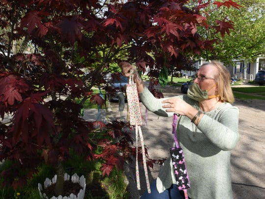 Karen Sayles hangs free face masks on her Japanese maple in her yard in Royal Oak.  Neighbors in need to pick up a free mask every morning.
