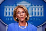 In this March 27, 2020, file photo, Education Secretary Betsy DeVos speaks about the coronavirus in the James Brady Press Briefing Room in Washington.
