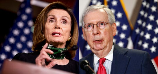 House Speaker Nancy Pelosi of Calif., left, and Senate Majority Leader Mitch McConnell of Ky.