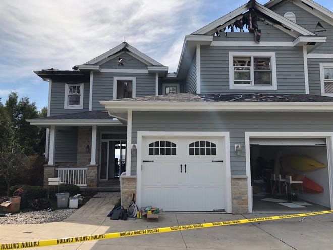 The roof burned almost entirely off and windows burst after a condo set fire in Sister Bay over the weekend.